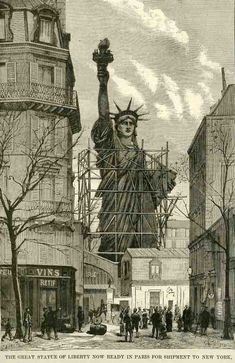 The head and the arm had already been built before Eiffel joined the project, and in 1878, the world got a sneak peak of The Statue of Liberty's Face at the Paris World Fair. Description from messynessychic.com.