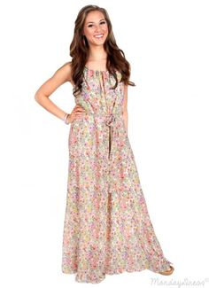Keep On Growing Ivory Floral Maxi Dress | Monday Dress Boutique