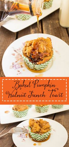 Baked Pumpkin Walnut French Toast Cups   Cooking with a Wallflower - Pumpkin French toast with walnuts baked in muffin cups then topped with cinnamon sugar for easy individual servings.