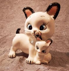 Cat and Kitten Figurine vintage cat with plastic by AnyOldTime, $19.50