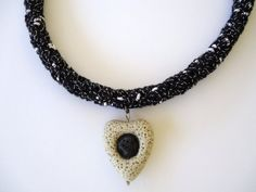 Black and white crochet necklace with lava. by PopisBOUTIQUE