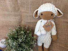 WELCOME TO THE CROCHET MAGIC SHOP  This lamb lalylala is the best friend of your kids in year to come. It is cute in white, and very soft to hold. Whats more, we can help you to personalise it by adding a personalised gift tag, making it a perfect gift if you want to send a