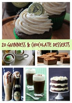 20 Mouthwatering Guinness and Chocolate Desserts. Perfect for St. Patrick's Day.