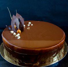 Mocha-Caramel Entremet with Vanilla Creme Brulee Insert and Chocolate-Caramel Glaze