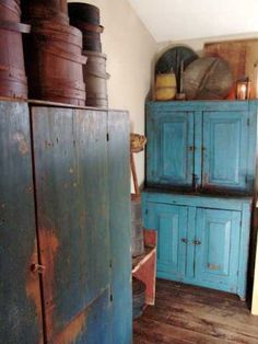 blue cabinets and firkins Primitive Furniture, Painted Cupboards, Blue Cabinets, Painted Furniture, Primitive Decorating, Colonial Decor, Country Cupboard, Blue Decor, Blue Cupboards