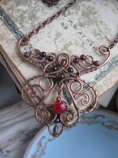 Ornate Filigree Wire Necklace  Whimsical Victorian by Lirimaer - I like the visual weight of this (though I suspect it's not heavy)