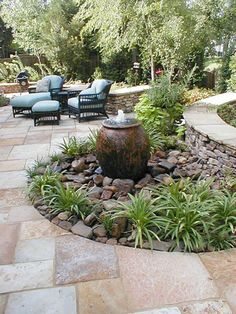 Loads of tips for how to create an inviting outdoor space. Whether you prefer a trickle or a gurgle, the sound of running water is so soothing and relaxing. I think it can even fool you into thinking it's cooler when you're near it. The selection of portable outdoor fountains is huge today.