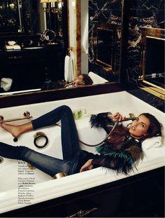 Elle Spain FW13-14 _ Alina Baikova Wears British Inspired Style for Xavi Gordo in Elle Spain Shoot #indigos #focusonjeans®