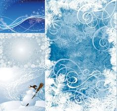 Beautiful collection of winter Christmas background vectors: