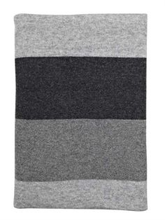 Wide grey striped wool throw