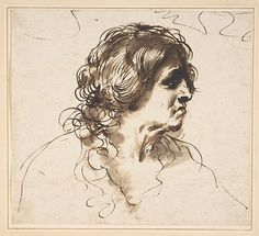 Guercino (Giovanni Francesco Barbieri, 1591–1666), Bust of a Man Facing Right, Pen and dark brown ink
