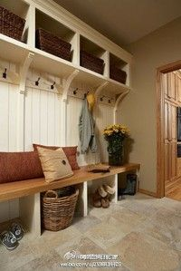 I like that there is a true bench to sit on - no dividers. mudroom.