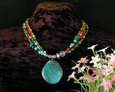 Turquoise MultiStrand Necklace Turquoise by ByDivineCollectibles, $115.00