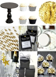 Black Gold Party Paint My Party: Black, White, Silver and Gold Oscars Inspired Party Ideas - Black, White, Silver Movie Party, Party Time, Gold Tissue Paper, Bird Party, Hollywood Party, Festa Party, 30th Birthday Parties, Gatsby Party, Oscar Party