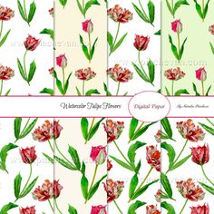 Digital paper with watercolor tulips, watercolor flowers, instant download, 12x12 inches size