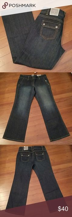 NWT Ann Taylor Jean trouser Ann Taylor Petites curvy fit trouser with back flap pockets  *fits curved through hip & thigh *lower on waist Measurements unstretched  Waist 15 inches across  Hips 18 1/2 inches across  Rise 8 1/2 inches Inseam 29 inches Ann Taylor Jeans Flare & Wide Leg