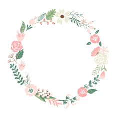Floral Frame. Cute Retro Flowers Arranged Un A Shape Of The Wreath Perfect For…