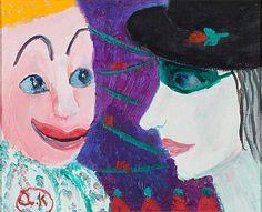Alice Kaira: Sirkusklovneja, öljy levylle, 26x32 cm - Bukowskis Circus Clown, Bukowski, Finland, Disney Characters, Fictional Characters, Disney Princess, Design, Design Comics, Disney Princes
