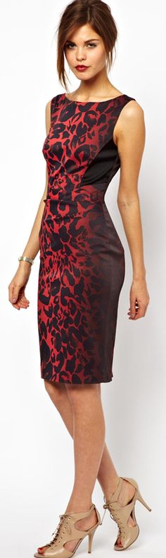 Karen Millen Signature Stretch Dress in Red Leopard