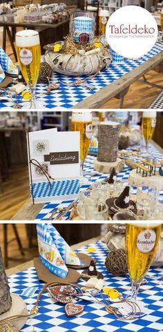 Feiern Sie Ihren Geburtstag mit einer bayrischen Tischdeko und Accessoires unter dem Motto Oktoberfest Party. Arrangieren Sie die typisch bayrischen Tische, in Weiß und Blau, mit dem traditionellen Rautenmuster. Fesch, zünftig - o'zapft is! Lassen Sie sich von Tischdecken, Servietten, Oktoberfest Motivkerzen, Einladungskarten, Menükarten, Tischkarten, Bierkrügen, Edelweiß Streudeko im Oktoberfest Look inspirieren.