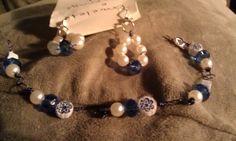 Bead earring and bracelet set by DoubleDzBeadz on Etsy, $5.00