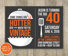40th BBQ Birthday Invitation Beer Party Adult Grill Eat Drink And Be 40 Printabl