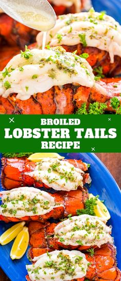 Broiled Lobster Tails Recipe Broiled lobster meat is crazy tender, juicy and every bite is bursting with fresh lemon butter flavor. Don't skip that garlic lemon butter to serve. Best Shrimp Taco Recipe, Shrimp And Rice Recipes, Cod Fish Recipes, Best Seafood Recipes, Easy Chicken Dinner Recipes, Easy Meals, Night Dinner Recipes, Winter Dinner Recipes, Best Dinner Recipes