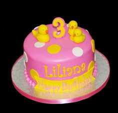 3rd birthday yellow and pink rubber ducky cake by Simply Sweets, via Flickr