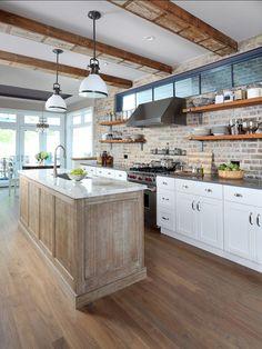 Kitchen. Transitional Kitchen Design. Transitional kitchen with brick backsplash and open shelves. #Kitchen #TransitionalKitchen