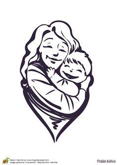 dessin dune maman donnant un gros clin son bb colorier - Coloriage Decoration Dune Chambre De Bebe
