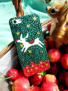 Original Rhinestone iPhone 4/4S Case Christmas Fawn