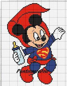 Punto croce minnie e topolino disney. mickey mouse baby superman x-stitch Cross Stitch Cards, Cross Stitch Baby, Cross Stitching, Cross Stitch Embroidery, Disney Cross Stitch Patterns, Modern Cross Stitch Patterns, Cross Stitch Designs, Hama Beads Disney, Baby Motiv