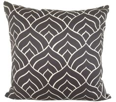 Dome cushion cover - white ink on dark grey linen - hardtofind.