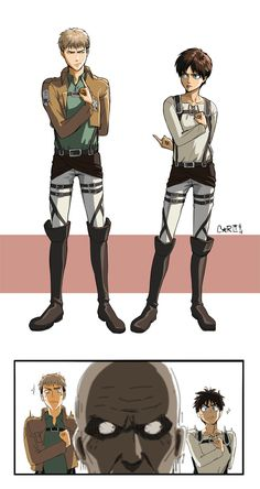 F U ~ Jean and Eren ~ Salute Characters from Attack on Titan by Barlee