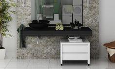 Conjunto para Banheiro Bely Preto/Branco - Uvim