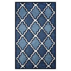 Anchor your living room or define a space in your master suite with this eye-catching rug, showcasing a lovely trellis motif in blue.