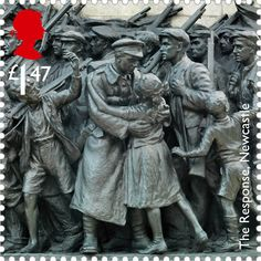 Royal Mail is turning Newcastle war memorial The Response into a stamp to commemorate 100 years since the start of the First World War Royal Mail Stamps, Uk Stamps, Love Stamps, Postage Stamps, Postage Stamp Collection, Anzac Day, Penny Black, British History, Stamp Collecting
