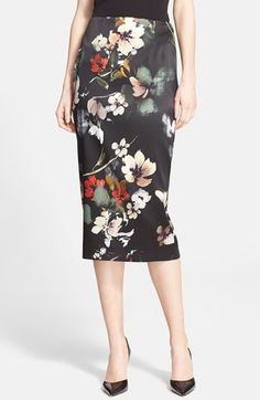 Nordstrom+Signature+and+Caroline+Issa+Floral+Print+Stretch+Satin+Pencil+Skirt+available+at+#Nordstrom