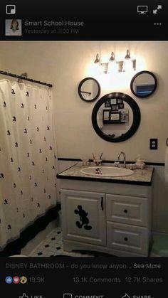 Basement Bathroom, Small Bathroom, Disney Bathroom, Mirrors, Fun, Ideas, Double Vanity, Small Toilet, Fin Fun