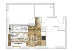 plan of a livingroom with kitchen area; scandinavian style; project: make Architekci