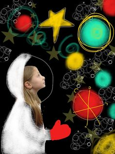 (Pamela Holderman: fly me to the moon) using iPad to create self-portraits
