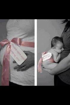 Avant-après annonce de la date d'accouchement et bébé.