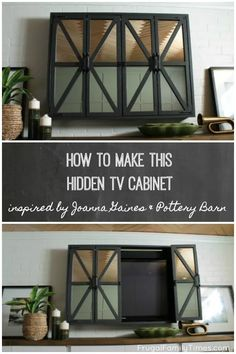 Our DIY hidden TV cabinet cost less than half of Pottery Barn! How to make a Hidden TV Cabinet with mirrors inspired by Joanna Gaines's on Fixer Upper and a Pottery Barn hack. When you hide the TV your room feels more thoughtful and sophisticated. Joanna Gaines, Diy Furniture Projects, Home Furniture, Antique Furniture, Outdoor Furniture, Wooden Furniture, Woodworking Furniture, Diy Projects, Small Furniture
