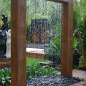 2m Giant Copper Rain Shower. (Another pinner suggests this could easily be made with hollow box uprights, run the water tube through one and the top hollow box with a PVC tube that you drill holes in for the water to run out; Paint it to look like faux-copper, and viola.)