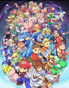 Super Smash Bros Wii U anime style Super Smash Bros Brawl, Nintendo Super Smash Bros, Super Mario Brothers, Super Mario Bros, Otaku, Geeks, Bayonetta, Retro Game, Wii U Games