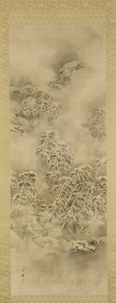"""Shiokawa Bunrin, """"Winter Landscape"""", 1865-1870, ink on silk panel. The artist uses value to subtly show fine details and shading, and using the absence of color to create a quiet but heavy mood reminiscent of snow fall."""