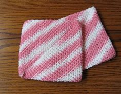 Pot Holders Pair Cotton Double Thick  Pink and White by NanaLetha