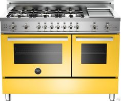 "Bertazzoni PRO486GGASGI 48"" Pro-Style Gas Range with 6 Sealed Brass Burners, 3.6 cu. ft. Main Convection Oven, Manual Clean, Electric Griddle and Storage Compartment: Yellow, Natural Gas"