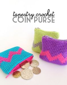 "What pretty coin purses! Practical & unique idea! Do you know how to do ""tapestry"" crochet? Try this Tapestry Crochet Coin Purse by Poppy & Bliss (Michelle Robinson) to store your kids' lunch money. The pattern for this quick little crochet purse is easy and fun. If you need help in adding the zipper, here …"