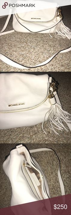 White cross-body Michael Kors bag NEVER USED! I got it as a gift so no tags was also sprayed with water and dirt protectant KORS Michael Kors Bags Crossbody Bags